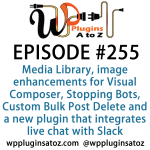 It's Episode 255 and we've got plugins for cleaning your Media Library, image enhancements for Visual Composer, Stopping Bots, Custom Bulk Post Delete and a new plugin that integrates live chat with Slack. It's all coming up on WordPress Plugins A-Z!