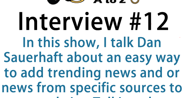 In this show, I talk Dan Sauerhaft about an easy way to add trending news and or news from specific sources to your website Talking about plugins.