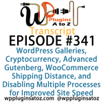 Transcript of Episode 341 WP Plugins A to Z WordPress Galleries, Cryptocurrency, Advanced Gutenberg, WooCommerce Shipping Distance, and Disabling Multiple Processes for Improved Site Speed