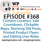 Transcript of Episode 368 WP Plugins A to Z