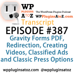 Transcript of Episode 387 WP Plugins A to Z
